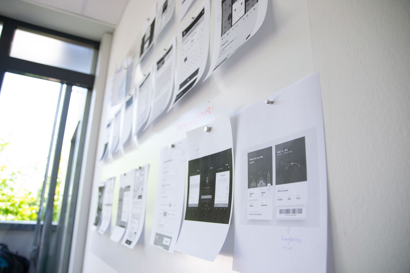 Business Process documents on a wall